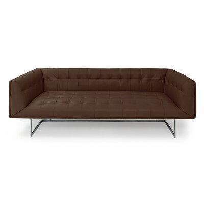 Edward Mid Century Modern Leather Chesterfield Sofa Upholstery: Coco Brown