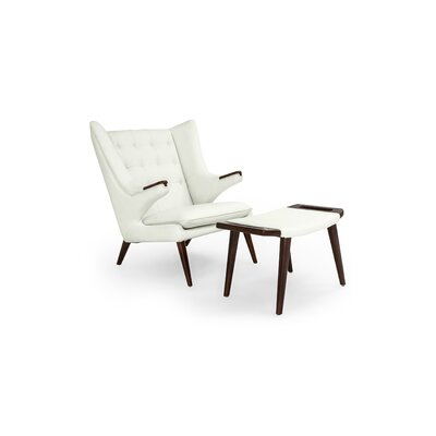 Bear Wingback Chair and Ottoman Finish: Arctic White