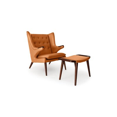 Bear Wingback Chair and Ottoman Finish: Canyon