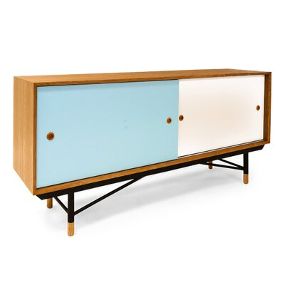 Color Theory Series Credenza Finish: Natural/Blue