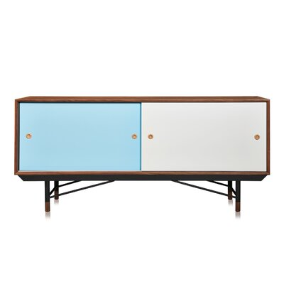Color Theory Series Credenza Finish: Walnut/Blue