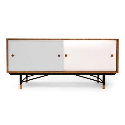 Color Theory Series Credenza Finish: Natural/Grey