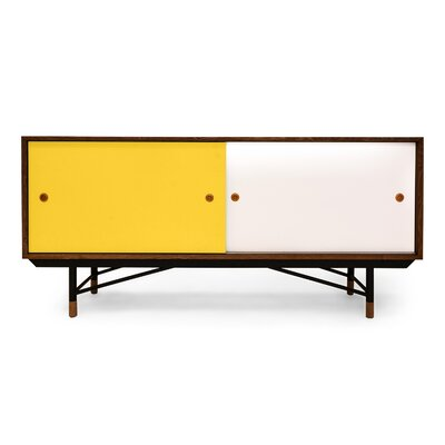 Color Theory Series Credenza Color: Walnut/Yellow