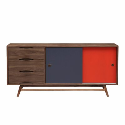Color Pop Series Credenza Color: Walnut