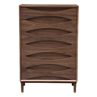 Vodder Tall Boy 6 Drawer Chest Color: Walnut