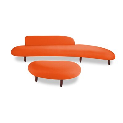 Potvin Mid Century Modern Sofa and Ottoman Set Upholstery: Orange