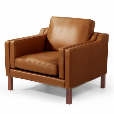 Rolando Mid Century Modern Leather Guest Club Chair Color: Canyon