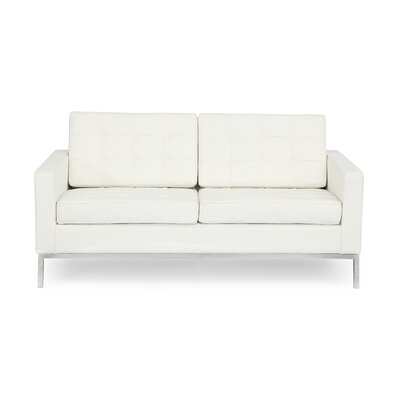 Modern Leather Loveseat
