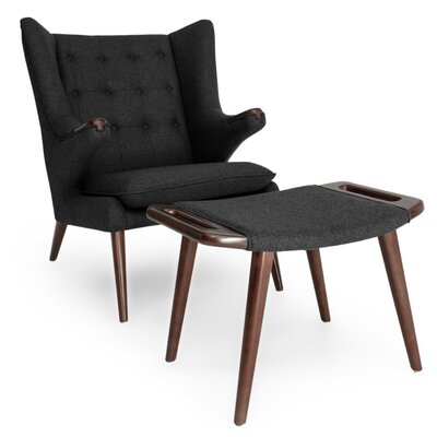 Bear Wing back Chair and Ottoman Upholstery: Charcoal