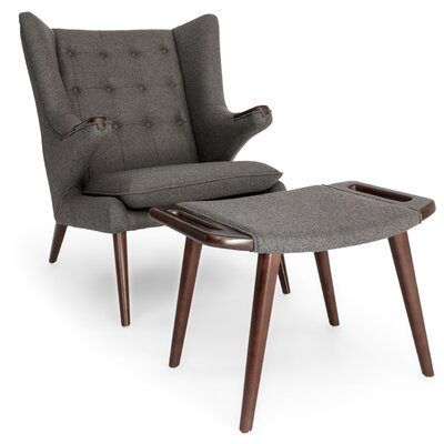 Bear Wing back Chair and Ottoman Color: Cadet Gray