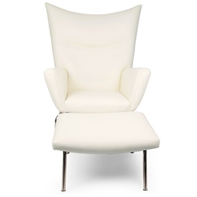 Wingback Chair & Ottoman Upholstery: Cream White