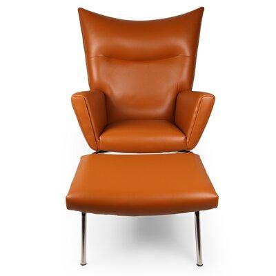 Wingback Chair & Ottoman Upholstery: Caramel