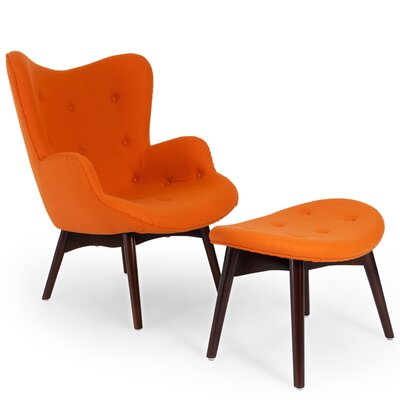 Contour Wing back Chair and Ottoman Upholstery: Carrot