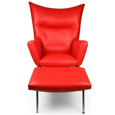 Wingback Chair & Ottoman Upholstery: Red