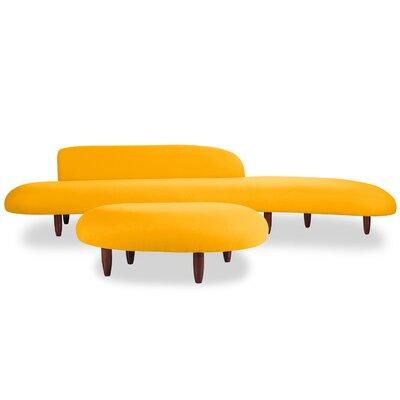 Kidney Bean Mid Century Modern Sofa and Ottoman Set Upholstery: Sunrise