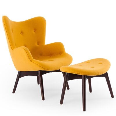 Contour Wing back Chair and Ottoman Upholstery: Sunrise
