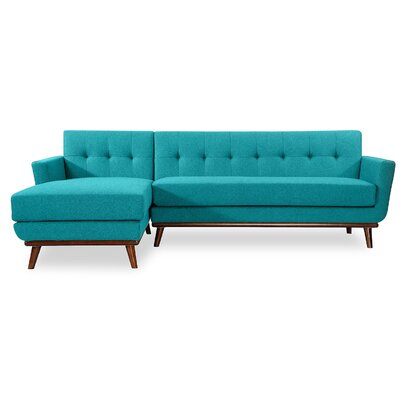 Luther L-Shaped Sectional Upholstery: Turquoise, Orientation: Right Hand Facing