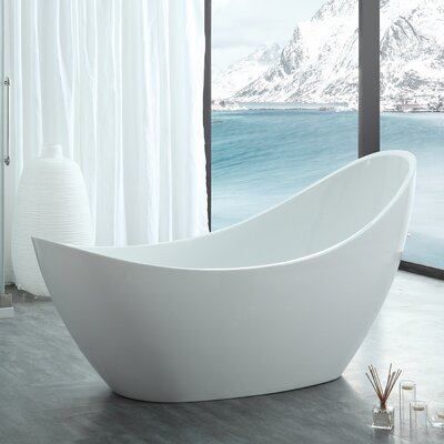 HelixBath Odysseus Slipper 73 X 30.7 Freestanding Soaking Bathtub