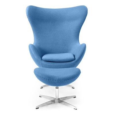 Deniela Solid Balloon Chair and Ottoman Upholstery: Baby Blue