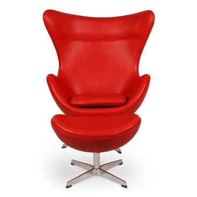 Deniela Balloon Chair and Ottoman with Wood Frame Upholstery: Red