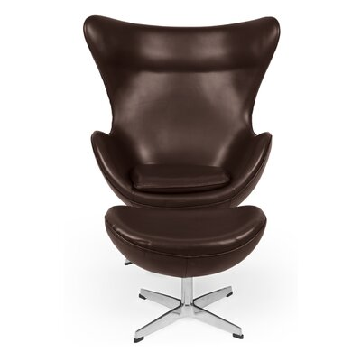 Deniela Balloon Chair and Ottoman with Wood Frame Upholstery: Choco Brown