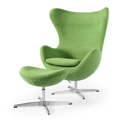 Amoeba Balloon Chair and Ottoman Upholstery: Apple Green