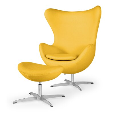 Deniela Solid Balloon Chair and Ottoman Upholstery: Citron