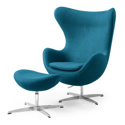Deniela Solid Balloon Chair and Ottoman Upholstery: Caribbean