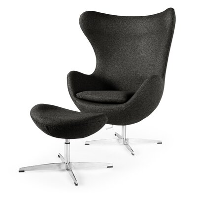 Deniela Solid Balloon Chair and Ottoman Upholstery: Charcoal