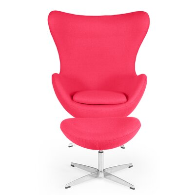 Deniela Solid Balloon Chair and Ottoman Upholstery: Pink ORNE5370 42978125