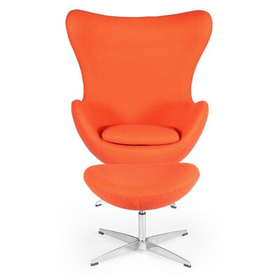 Deniela Solid Balloon Chair and Ottoman Upholstery: Orange