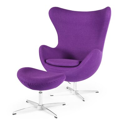 Deniela Solid Balloon Chair and Ottoman Upholstery: Purple
