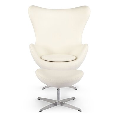 Deniela Solid Balloon Chair and Ottoman Upholstery: White Peacoat