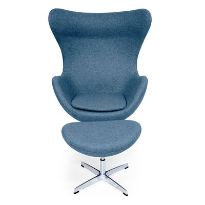 Deniela Balloon Chair and Ottoman Upholstery: Azure