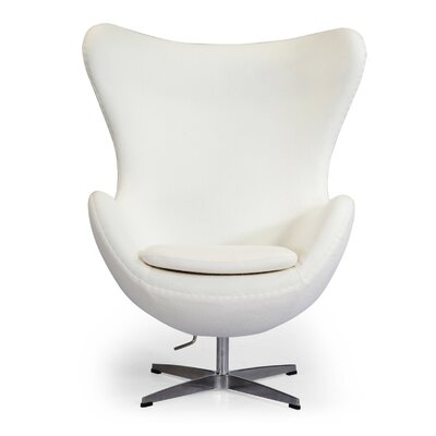 Amoeba Wingback Chair Color: White Boucle