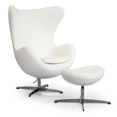 Deniela Solid Balloon Chair and Ottoman Upholstery: White Boucle