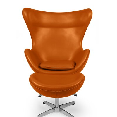 Deniela Balloon Chair and Ottoman with Wood Frame Upholstery: Caramel