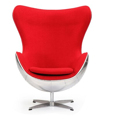 Deniela Wool Balloon Chair Upholstery: Red