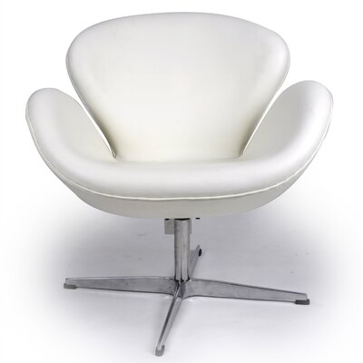Trumpeter Lounge Chair Upholstery: Cream/White