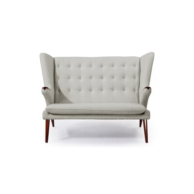 Bear Wegner Papa Wing Loveseat Upholstery: Heather White