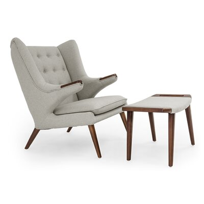 Bear Wing back Chair and Ottoman Upholstery: Heather White
