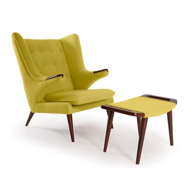 Bear Wing back Chair and Ottoman Upholstery: Dijon