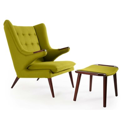Bear Wing back Chair and Ottoman Color: Deco Moss