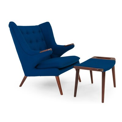 Bear Wing back Chair and Ottoman Color: Sapphire