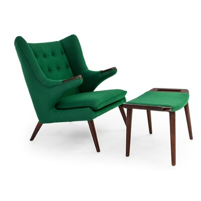 Bear Wing back Chair and Ottoman Upholstery: Wheat Grass
