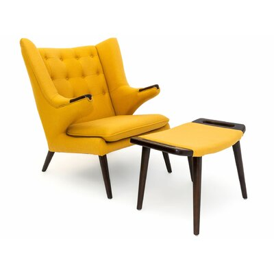 Bear Wing back Chair and Ottoman Color: Sunrise