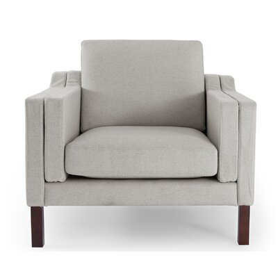 Monroe Mid Century Modern Arm Chair Color: Heather White