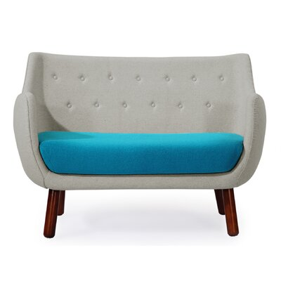 Parlor Mid Century Modern Sofa Upholstery: Heather White/Teal