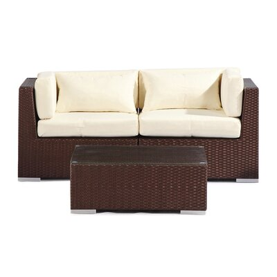 Aloha Makena Outdoor 3 Piece Deep Seating Group with Cushion Fabric: Ivory
