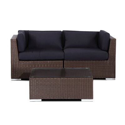 Aloha Makena Outdoor 3 Piece Deep Seating Group with Cushion Fabric: Navy